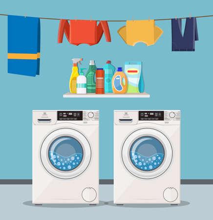 lavatrice con detersivo e icone di servizio di lavanderia. Illustrazione vettoriale in stile piatto
