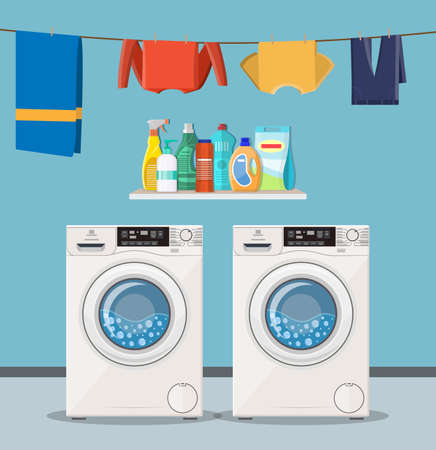 wash machine with laundry service icons and detergent. Vector illustration in flat style