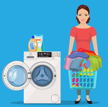 Cheerful girl standing and holding laundry basket near washing machine Vektorové ilustrace