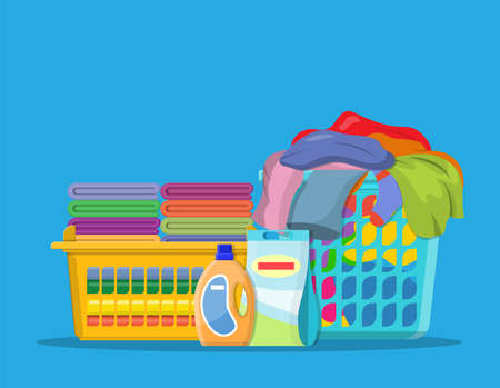 Laundry linen or clothes in baskets and detergent. cleaning or washing service concept. Vector illustration in flat style Illustration