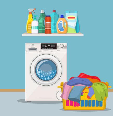 wasruimte met wasmachine en schoonmaakproducten op de plank. Vectorillustratie in vlakke stijl