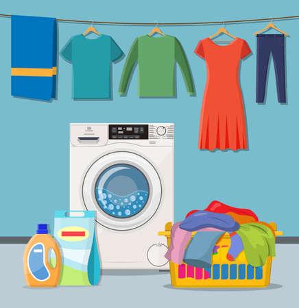 Waschküche. Waschmaschine mit Wäschekörben und Waschmittel. Vektorillustration im flachen Stil