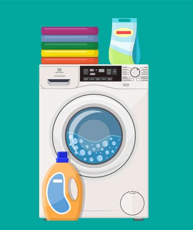 Washing machine Powder and cleanser. Vector illustration in flat style