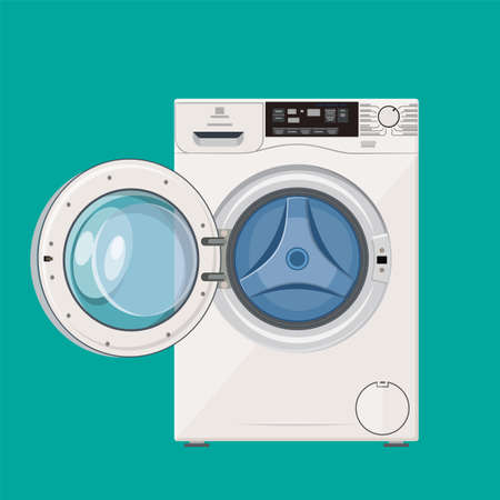 Washing machine with open door Stock Photo