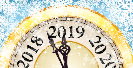 New Year and Christmas concept banner with vintage clock