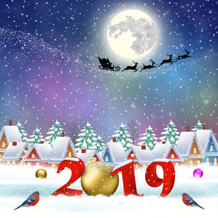 happy new year and merry Christmas winter village with trees. Santa Claus with deers in sky above the city. concept for greeting and postal card, invitation, template, vector illustration. 2019