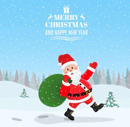 Santa Claus Walking with Bag of Presents Illustration