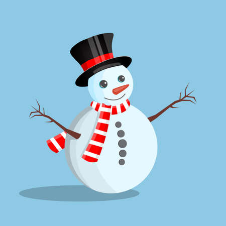 White snowman with cylinder hat , scarf and mittens. Happy new year decoration. Merry christmas holiday. New year and xmas celebration. Vector illustration in flat style