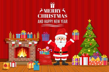 Santa Claus holding gift box Stock Photo