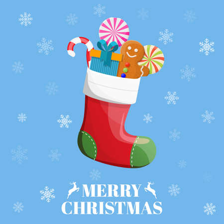 Christmas sock with candies, gifts Stock Photo