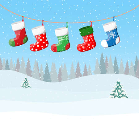 Christmas stockings in various colors on rope on snowflakes background. Set of christmas cloth socks. New year and xmas celebration. Vector illustration in flat style