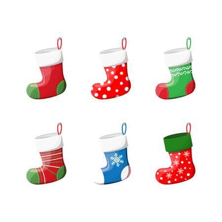 Cute Christmas Socks set . Vector illustration in flat style Illustration