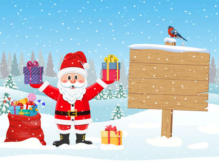 Santa Claus with gift bag and wooden sign against the the winter country landscape. Merry christmas holiday. New year and xmas celebration. Vector illustration in flat style
