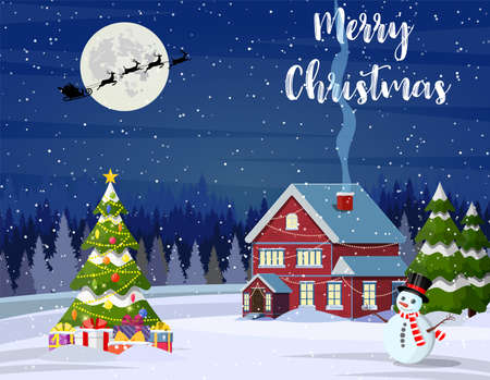 New year and Christmas winter landscape background with christmas tree and giftbox. Vector illustration