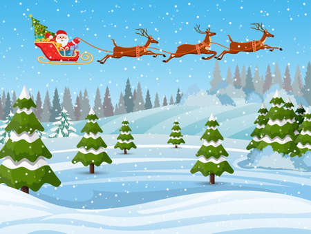 Illustration of Santa and Reindeer on the snow