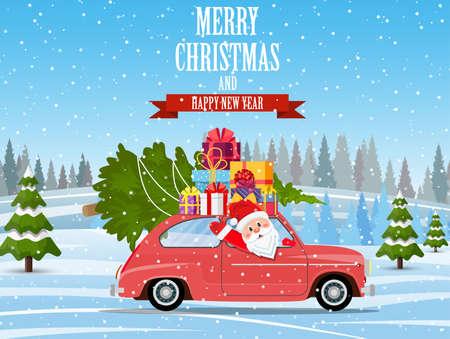 Retro car with Christmas tree