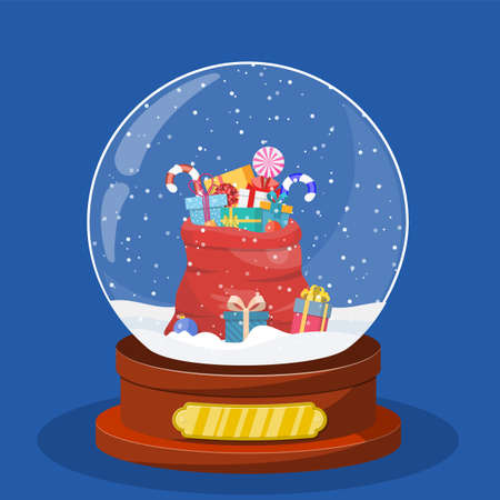 Christmas snow globe with red bag, sack with gift boxes inside. Merry christmas holiday. New year and xmas celebration. Vector illustration in flat style Illustration