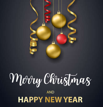 Poster Merry Christmas holiday. Gold ornament decoration of golden ball on luxury black background. Vector illustration
