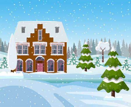 Christmas landscape background with snow and tree. Merry christmas holiday. New year and xmas celebration. Vector illustration in flat style Illustration