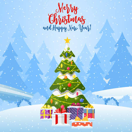 Christmas landscape background withwith christmas tree with gifbox. Merry christmas holiday. New year and xmas celebration. Vector illustration in flat style Illustration