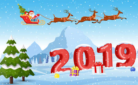 Christmas Santa Claus riding on sleigh with Christmas Reindeer on a sleigh. concept for greeting or postal card, 3d numbers vector illustration. Merry christmas holiday. New year and xmas celebration