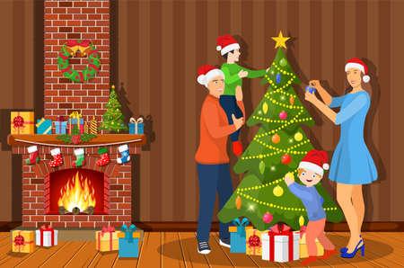 Familie, die den Weihnachtsbaum im Wohnzimmer zu Hause schmückt. Frohe Weihnachtsfeiertage. Neujahrs- und Weihnachtsfeier. Flacher Stil der Vektorillustration?