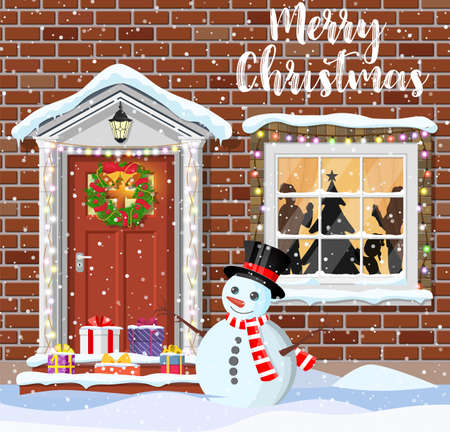 House door decoration for the Christmas Illustration