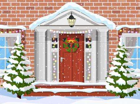 Entrance to the suburban house Illustration
