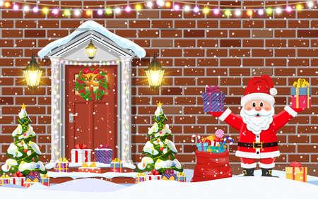 Haustürdekoration für die Weihnachtsferien. Außeneingang des Haustürhauses und Weihnachtsmann. Frohe Weihnachtsfeiertage. Neujahrs- und Weihnachtsfeier. Flacher Stil der Vektorillustration?