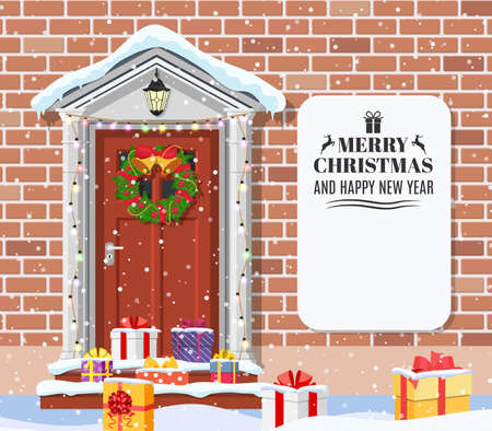 House door decoration for the Christmas Stock Photo