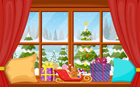 Christmas window view with a snowy landscape