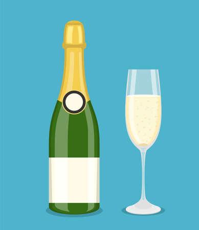Bottle champagne and glass Illustration