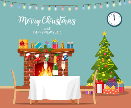 Christmas room interior. Christmas tree, fireplace, table and chairs. Merry christmas holiday. New year and xmas celebration Vector illustration in a flat style