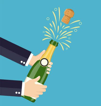 hand open champagne, Champagne splash icon template concept. Vector illustration flat style Archivio Fotografico - 127554972