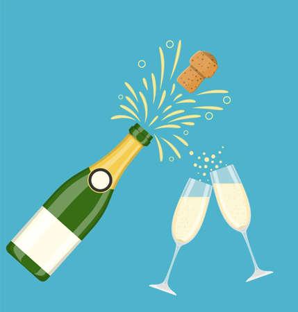 Due bicchieri di champagne con esplosione di bottiglia di champagne. Saluti. Celebrazione. Brindisi di festa