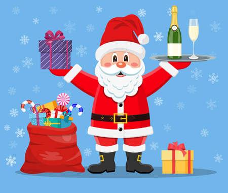 Happy Santa Claus with presents