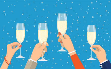 People holding champagne glasses Stock Photo