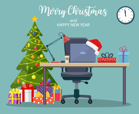 Christmas and New Year in modern office workplace interior. Merry christmas holiday. New year and xmas celebration Vector illustration in a flat style