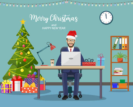 Christmas and New Year in modern office workplace interior. businessman, working at computer in office. Merry christmas holiday. New year and xmas celebration Vector illustration in a flat style