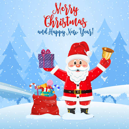 Christmas background. Santa claus with bag with gifts. Winter landscape with fir trees forest and snowing. Happy new year celebration. New year xmas holiday. Vector illustration flat style Stock Illustratie