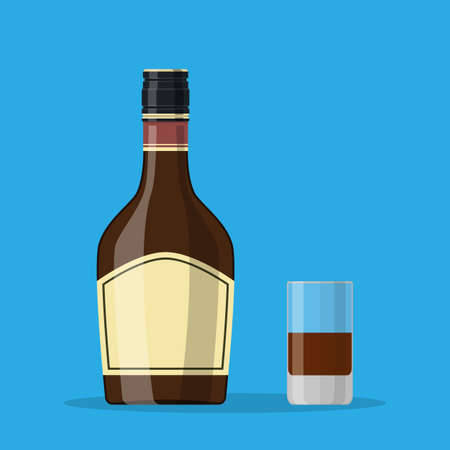 Bottle of grass liquor with shot glass. Grass liquor alcohol drink. illustration in flat style