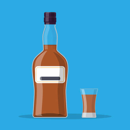 Bottle of rum and glass. Rum alcohol drink. vector illustration in flat style