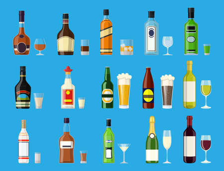 Alcohol drinks collection. Bottles with glasses. Vodka champagne wine whiskey beer brandy tequila cognac liquor vermouth gin rum absinthe bourbon. Vector illustration in flat style
