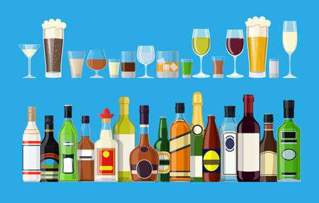 Collezione di bevande alcoliche. Bottiglie con bicchieri. Vodka champagne vino whisky birra brandy tequila cognac liquore vermouth gin rum assenzio bourbon. Illustrazione vettoriale in stile piatto Vettoriali