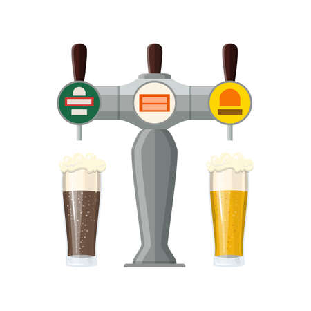 Bar Beer Tap with Beer Glasses isolated on white background. Vector illustration in flat style