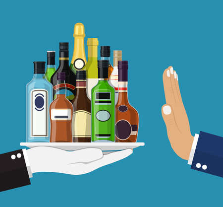 Alcohol abuse concept. Hand gives Alcohol drinks. Stop alcoholism. Rejection Bottles with vodka champagne wine whiskey tequila cognac liquor vermouth gin rum. Vector illustration flat style Illustration