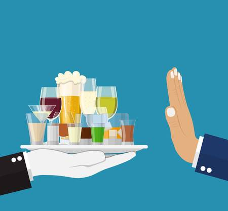 Alcohol abuse concept. Hand gives glasses Alcohol drinks. Stop alcoholism. Rejection Bottles with vodka champagne wine whiskey tequila cognac liquor vermouth gin rum. Vector illustration flat style