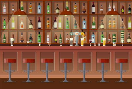 Bar, pub, night club interior. bar counter, bar chairs and shelves with alcohol. Vector illustration in flat style