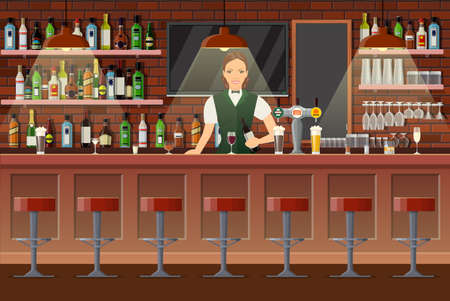 Drinking establishment. Interior of pub, cafe or bar. Bar counter with bartender lady and wine bottles on the shelves behind her. Glasses, tv, lamp. Wooden decor. Vector illustration in flat style Vettoriali