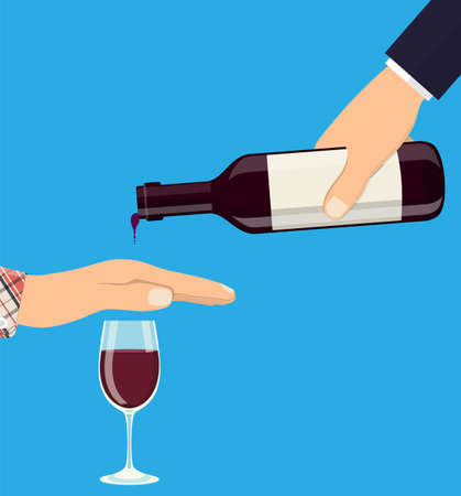 Alcohol abuse concept. Hand gives bottle of wine to other hand. Stop alcoholism. Rejection. Vector illustration in flat style Illustration